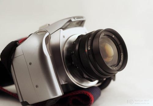 Mir-1V M42-lens Canon EOS 300V