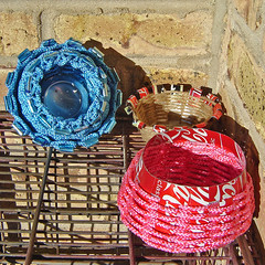 Baskets Made from Recycled aluminum cans (Urban Woodswalker) Tags: pink blue stilllife art texture sunshine colorful basket graphic recycled handmade bricks creative craft naturallight crayonbox imadethis fiberart enviromental bold geekery sodacans basketry sodapop techniques repurpose ecoart vessal upcycled aluminumcans myowndesigns urbanwoodswalker