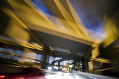 forethought: overrated (unfocused mike) Tags: bridge night underpass dallas highway driving shot wideangle lucky highfive fromthehip