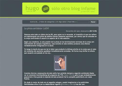 Tercer theme de Sólo otro blog infame, columna central en tonos verdes