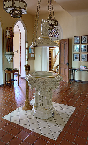 Saint Bernard Roman Catholic Church, in Albers, Illinois, USA - baptismal font