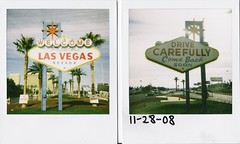 Welcome To Fabulous Las Vegas Nevada (Nick Leonard) Tags: road street blue sky film sign analog polaroid photography lasvegas nevada nick scan palmtrees 600 legend sun600 600film welcometofabulouslasvegasnevada type600 filmexpired filminstant nickleonard savepolaroid filmintegral