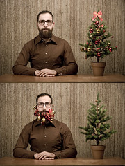 We wish you a merry Chris-mas!!! (Christian Metzler) Tags: christmas winter friends portrait man tree 20d bells beard glasses bart balls mann 100 fav merry brille baum schmuck knig diptich glocken kugeln christianmetzler susannekoenig