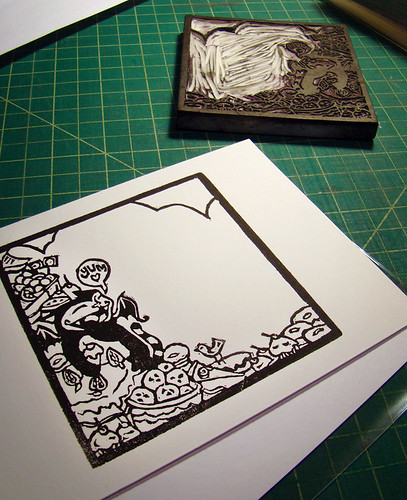 Batcat Chow lino print