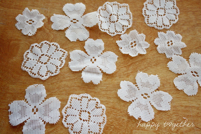 Lace flowers cut out