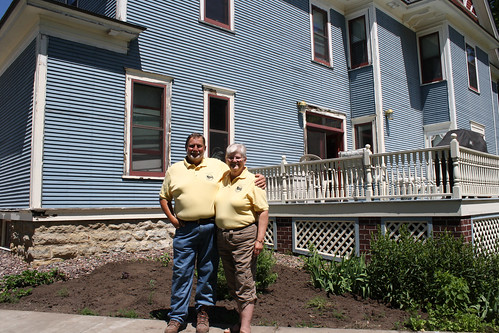 John and Dorothy Priske in front of their home and Bed & Breakfast.