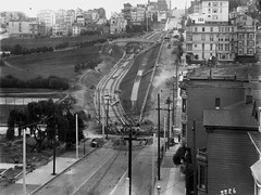 Outdoor Shot Showing J Line Construction, 1916- W3226 (SFMTA Photo Archives) Tags: sanfrancisco ca workers construction exterior publictransit outdoor tracks muni transportation missiondistrict streetcar dolorespark chaffee overheadview jline boardofworks sfmta cityengineer