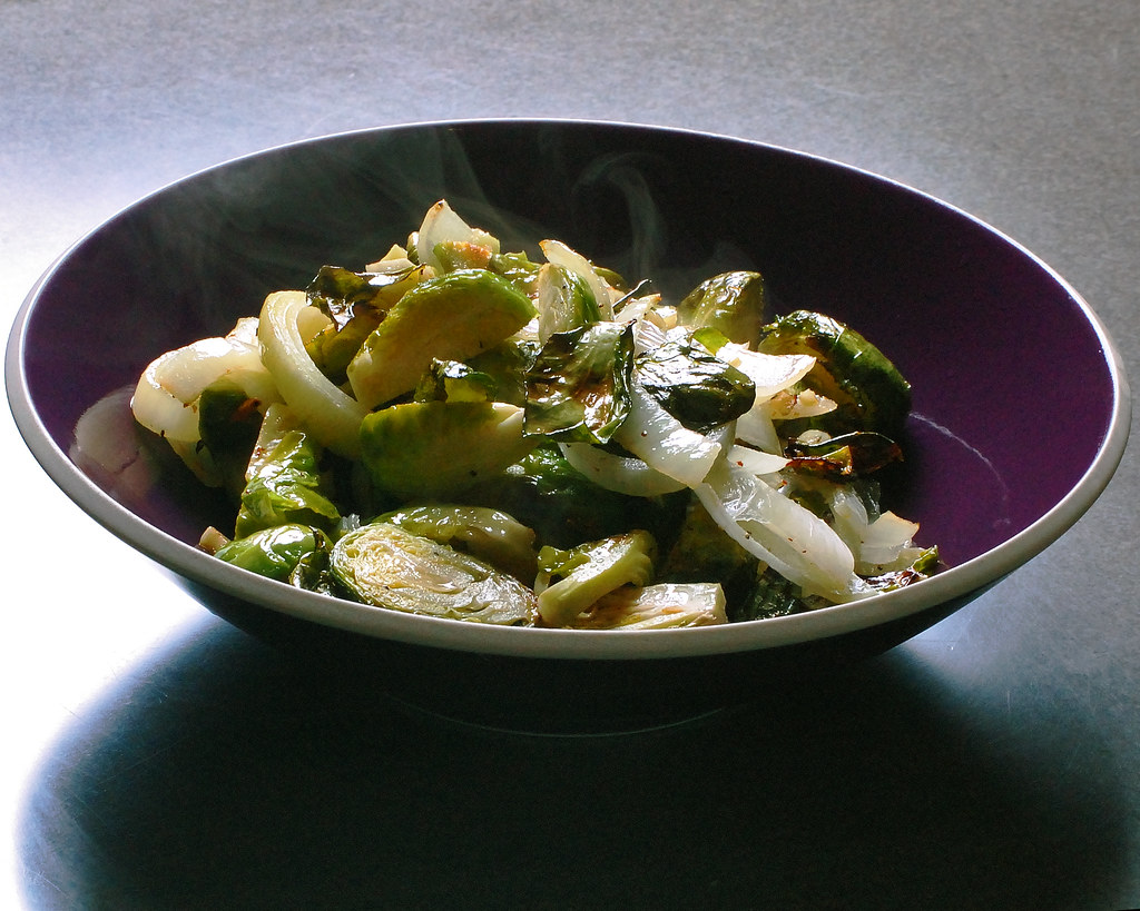 Roasted Brussels Sprouts with Onion & Garlic