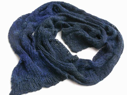 Handspun Reversible Cable Scarf - dyed