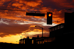 Kitsilano Dark and Moody Sky (Lisa Bettany {Mostly Lisa}) Tags: sunset red sky yellow vancouver buildings kitsilano intersection redlight explored