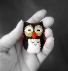 silly peepers Mr. Owl (lilfishstudios) Tags: wool birds pin recycled handmade sewing brooch craft owl handsewn etsy crafting repurposed lilfishstudios feltedsweaters