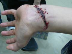 P1080166.JPG (Mayu ;P) Tags: art japan tokyo design cut fake wrist designfesta 2008 scar specialeffects sfx tokyodesignfesta eyefi