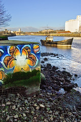 Saltmeadows Flower (matt_sefton) Tags: river graffiti tide tyne gateshead saltmeadows mattsefton