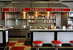Dixon's Famous Chili (FotoEdge) Tags: original usa classic window kitchen colors silver lunch view memories kansascity chrome american missouri kc nosmoking stools dixons stainless truman kcmo lunchbreak breaktime dixonschili nationalhighway 40highway fotoedge bobtravaglione dixonsfamouschili