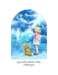 """""""I'd be so blue without you"""" by A E Ruffing, Girl and Cocker Spaniel Print"""