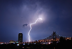 Queensboro Bridge Lightning Storm (Greg - AdventuresofaGoodMan.com) Tags: city nyc newyorkcity bridge urban storm weather night bolt lightning queensborobridge rooseveltisland lightningbolt extremeweather lightningstorm 10044 stormnight