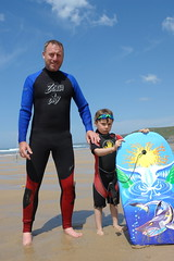 Somebody could be looking happier... (CharlesFred) Tags: man male men watergatebay cornwall englandengland seasideengland menoftheworld