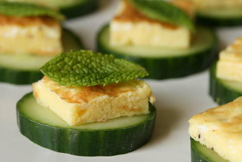 Egg, Mint and Cucumber Canape
