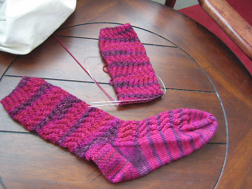 Progress on Wavy Rib Socks