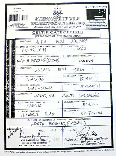 Sultan of Sulu Birth Certificate