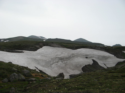 snow bank in a gully