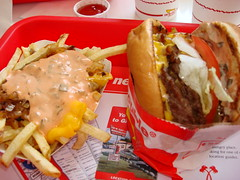 "In-N-Out combo ""Animal Style"" both Buger and Fries (w/flash) (Harvey-Harv) Tags: hamburgers fries innoutburger animalstylefries doubledoubleinnoutburger"
