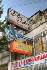 Blue Eagle (laniwurm) Tags: vancouver cafe neon dtes hdr fearlesscity