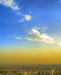 Tehran under the Blue Sky, Iran (Persia) (eshare) Tags: sky cloud mountain mountains tower clouds buildings landscape persian cityscape iran towers gimp persia pollution iranian tehran  hdr highdynamicrange iranians teheran persians         kakadoo hdrfromasingleraw sonyalphadslra100   sal20f28 dynamicphotohdrsoftware dphdr shutterspeed1100sec 100  diaphragmvaluef80 sonyalpha20mmf28lens 2028