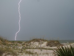 Tybee Island, GA (tgt1970) Tags: sky storm beach rain grey sand post dunes gray palm tybeeisland strike lightning