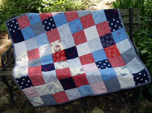 blue red patchwork quilt
