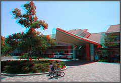 - 3D-anaglyph- Village-of-Happiness-KOBE (Shiawase-no mura)-R0013752 (pinboke_planet) Tags: bike golf 3d twin anaglyph stereo kobe ricoh foldingbike  sunstar  shiawasenomura gx100 al14 villageofhappinesskobe