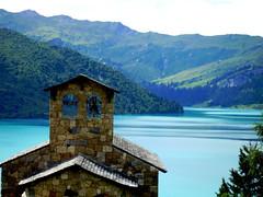 chapelle et lac de roselend (anatoliv73) Tags: mountain lake france alps tower church alpes bell dam lac chapel savoie beaufort eglise chapelle clocher albertville roselend