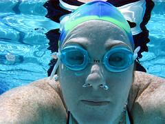 Day 237 (nikolina100) Tags: summer selfportrait reflection pool underwater goggles bubbles sp swimmer freckles 366 swimcap nikolina100 reallywrinklyshoulderswtf