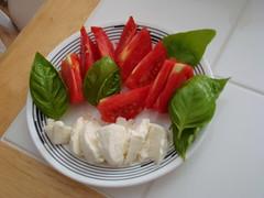 tomato basil mozzarella (stevehuang7) Tags: cheese garden tomato fresh basil leafs homegrown mozzarella