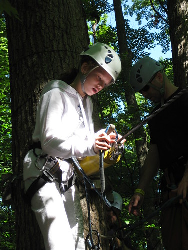 Micaela prepares for her first zip-line at Arbraska Treetop Adventures in Rigaud, Quebec.