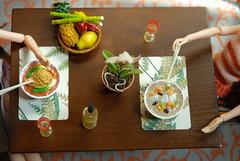 Delicious Soup (Girl Least Likely To) Tags: fashion dinner toys japanese glasses miniatures dolls wine vinyl naturallight diningroom rement decor dollhouse sekiguchi momoko asiandolls soupbowls dollscene