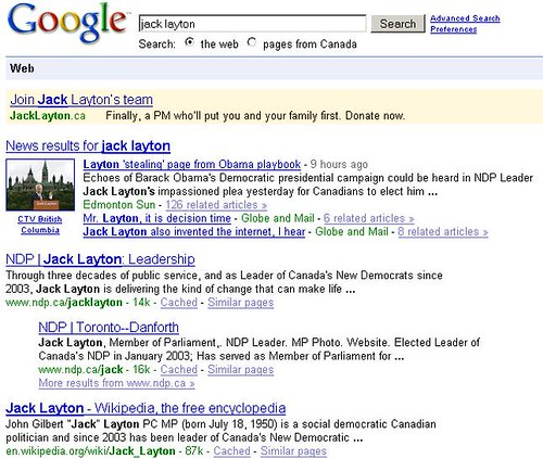 Jack Layton search produces NDP Pay-Per-Click Adwords Ad