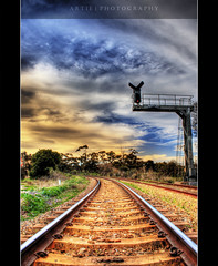 From the Eyes of the Train :: HDR (:: Artie | Photography ::) Tags: sky cloud sun photoshop canon cs2 tripod tracks kitlens railway australia pole adelaide 1855mm southaustralia efs hdr traffice trafficcontrol artie railwaycrossing 3xp photomatix tonemapping tonemap 400d rebelxti