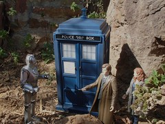 The Doctor confronts a Cyberman