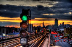 Manhattan Bound: Green light (Tony Shi.) Tags: new york nyc light sunset ny green subway mainstreet dof emotion boke