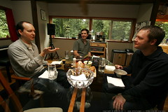 soup kitchen - trenton lipscomb, mike mccune and john kiser - _MG_1680 (sean dreilinger) Tags: home oregon lunch soup foliage geeks nerds redhat diningroom meal espresso hackers conversation soupkitchen frenchbread gettogether lunchbreak ppc glasstable skewed lakeoswego splitpeasoup handgesture spacewalk plumpie programmers crookedphoto devonlane adchemy johnkiser 20081016 homeworkers beetborscht softwareprofessionals pacificapps mikemccune trentonlipscomb cnetalumni portlandnatives carrotmacadamiasoup workfromhomeveterans peoplewhoworkfromhome pasystemspeaker internetprofessionals dressedupsinceweallnormallyworkinprivate