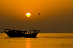 ........ (Jhong Dizon | Photography) Tags: shadow sea sun reflection beach water birds silhouette sunrise boat amazing nikon corniche abroad saudi excellent pinoy ksa ofw qatif d80 nikond80 moodcreations
