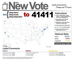 TheNewVote = pre-election polling based on parsing the area code / local exchanges from incoming text messages = clever.  Done by some ITP'ers - take it for a test drive!