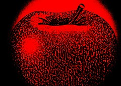 Apple Alphabet (Heaven`s Gate (John)) Tags: red black 35mm graphics letters creative dramatic imagination alphabet colourslide 500x500 bronly johndalkin heavensgatejohn top20red applealphabet