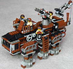 Super-Heavy Steam Hex-Walker Mk. XXV (Command Variant) (front) (aillery) Tags: war lego military great steam walker command steampunk variant painparade