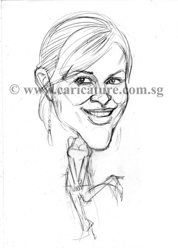 Celebrity caricatures - Reese Witherspoon pencil sketch watermark