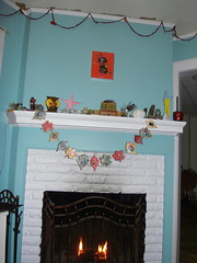 fireplace with obama garland. (stephiblu) Tags: november autumn party guests fun nj montclair 2008 autumnball autumnball2008 tichenortichenors
