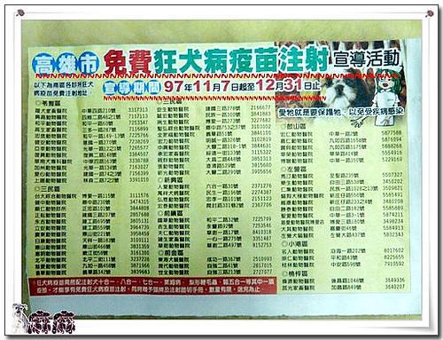 2008-11-12-「情報」高雄市本年度免費施打狂犬病~2008-11-07~2008-12-31經費用完為止~請把握時間!