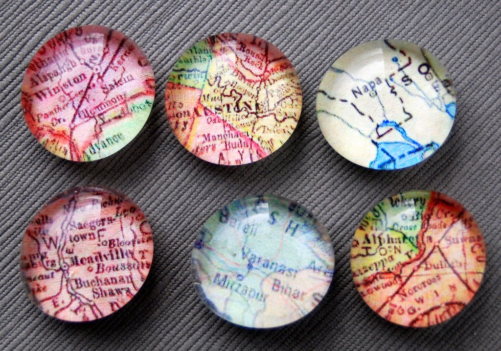 Custom Map Magnets - Set of 6
