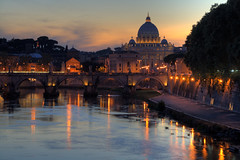 St Peters and Tiber River, Rome, Italy (Warren Chrismas) Tags: sunset italy orange vatican stpeters rome roma reflection church water river photo pretty italia catholic cathedral dusk best tiber tevere hdr stpetersbasilica recommended sigma1020mm tiberriver pontesantangelo fiumetevere sigma1020 sigma1020mmf456exdchsm angelbridge basilicaofstpeter angelsbridge canon400d stpetersofrome warrenchrismas
